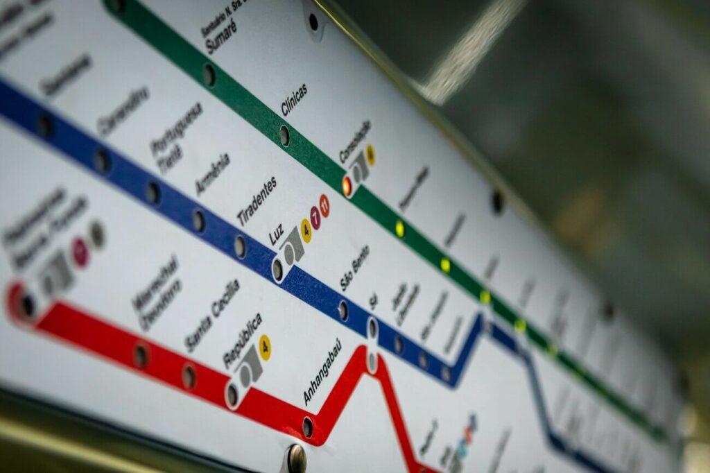 Trecho do mapa do metrô de São Paulo - Aeroporto mais próximo da Paulista | Club Coworking